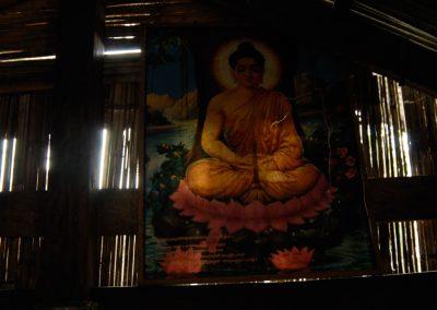 Peinture de Bouddha à l'intérieur d'une maison, province de Kampong Cham.