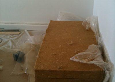 Laine de chanvre utilisée pour l'isolation des murs périphériques